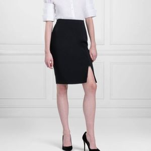 Anne Fontaine Zip Front Slit Pencil Skirt